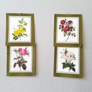 Vintage Set Of Four 80s Floral Botanical Prints